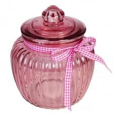 Borcan sticla roz mic