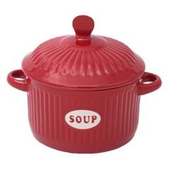 Bol supa ceramica rosu