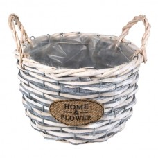 Ghiveci cos impletit bambus Home & Flower alb L