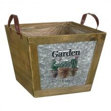 Ghiveci lemn metal galvanizat Garden Cactus
