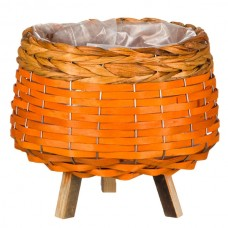 Ghiveci lemn portocaliu impletit