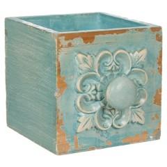 Ghiveci sertar albastru lemn