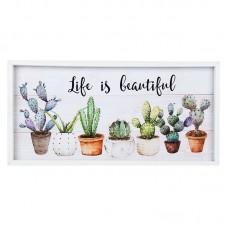 "Tablou decorativ cactusi ""Life is beautiful"""
