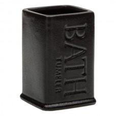 Suport periute ceramic negru Bath