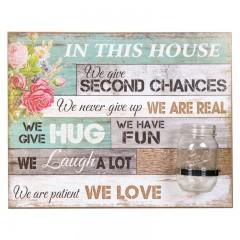 """Tablou decorativ cu vaza """"In this house"""""""